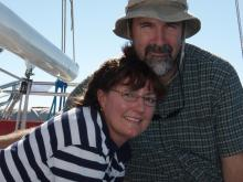 Yvette and Angus aboard Stargazer - Photo by Delores Carter