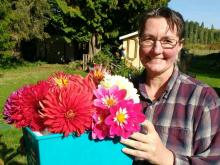 Yvette and her beloved dahlias