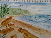 Watercolour of the beach at Deception Pass