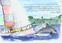 Sailing quote with a leaping dolphin and a sailboat.