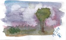 Stormy Sky and Tree Watercolour