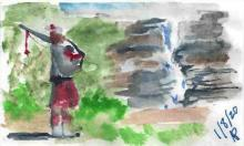 Piper by a waterfall watercolour