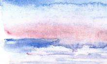 Wild ocean sunset watercolour