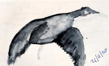 Watercolour Canada goose in flight